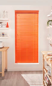 Bring colour into your kitchen with bright coloured wooden blinds ...