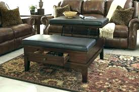 extra large tufted ottoman coffee table black leather with tray round living room ott