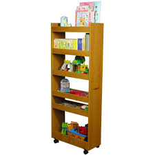 Portable Kitchen Pantry Furniture Light Brown Wooden Portable Pantry Cabinet For Kids Room Book