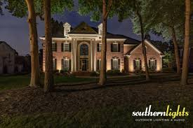 Outdoor Lighting Raleigh Nc Estate Brick Home Illuminated By Southern Lights Outdoor