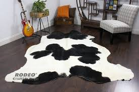 white cowhide rug black and toronto west elm canada