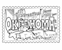 Oklahoma State Stamp Coloring Page States Oklahoma Coloring