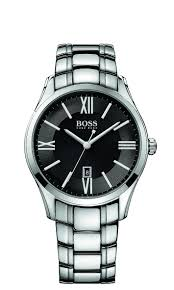 hugo boss men s black dial and stainless steel bracelet watch