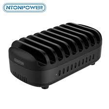 <b>NTONPOWER</b> 10 Ports USB Charging Station with <b>Phone Holder</b> ...