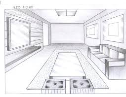 Elegant Living Room Perspective Drawing One ...