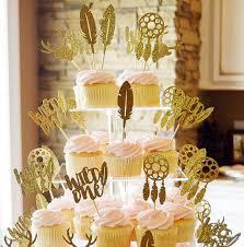 Dream Catcher Baby Shower Cake Glitter Wild One Boho Dream Catcher Birthday Cupcake Toppers baby 41