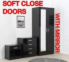 Black bedroom furniture Modern Gladini High Gloss Mirrored Piece Bedroom Furniture Set Includes Wardrobe Ebay Black Bedroom Furniture Sets With Wardrobe Ebay