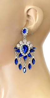 3 long royal blue rhinestones evening chandelier earrings