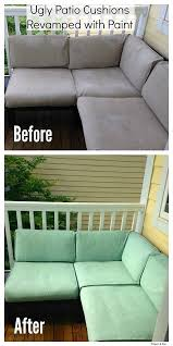 ugly patio cushions revamped with paint before and after