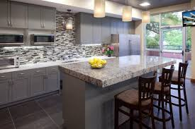Small Picture Modern Kitchen With Grey Cabinets And Mosaic Backsplash Team Up