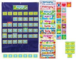 Yellow Calendar Pocket Chart Carson Dellosa Cd 158156 Deluxe Calendar Pocket Chart Buy