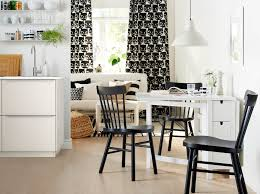 ikea furniture for small spaces. A White Table With Two Drop-leaves In Small Monochrome Living Space. Ikea Furniture For Spaces