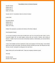 Letter For End Of Contract Termination Letter Of A Service Contract