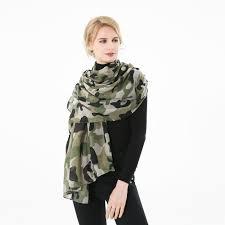 <b>Winfox</b> 2018 <b>New Fashion</b> Ladies Army Green Camouflage Scarf ...