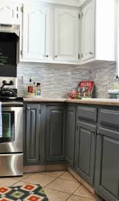 Grey And White Kitchen Makeover With Tile Backsplash