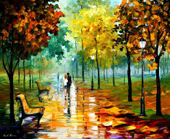 autumn leafs 2 palette knife oil painting on canvas by leonid afremov