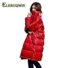 patent leather winter down jacket women parka 2018 fashion stand collar loose warm outwear large size