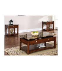 3 pc coffee table set faux marble lift top