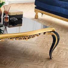 black lacquered gold leaf coffee table