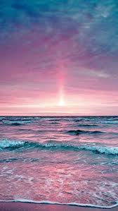 Rose Pink Sunset And Blue And Purple Ocean Colors