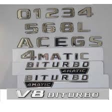 Chrome <b>Shiny Silver</b> Car Trunk Rear <b>Number</b> Letters Words Badge ...