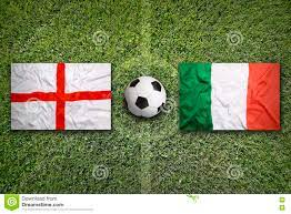 England Vs. Italy Flags On Soccer Field ...
