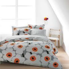 marimekko ut white grey sheet set orange beddinggrey