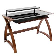 black glass and wood computer desk