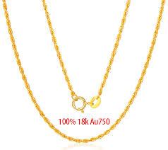 100% <b>18K</b> Pure <b>Gold</b> Women's Necklace Fashion&Trendy yellow ...