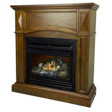 compact convertible ventless natural gas fireplace in heritage