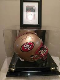 authentic hand signed jerry rice full size helmet in mirrored display case with jsa certificate of authenticity for in stockbridge ga offerup