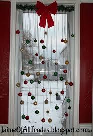 DIY Christmas window decor with small ornaments (via www.hometalk.com)