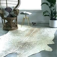 metallic cowhide rug silver on white