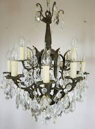 antique birdcage 12 arm gilt brass crystal chandelier c 1910 la99171 loveantiques com