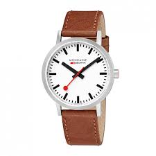 gents mondaine classic brown leather strap watch