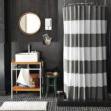 grey and white striped DIY shower curtain