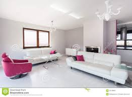 Pink Living Room Vibrant Cottage White And Pink Living Room Royalty Free Stock