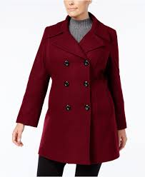 anne klein women s red plus size double ted peacoat