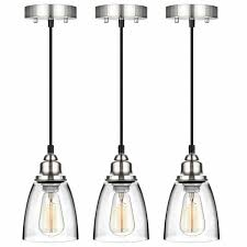 Clear Glass Hanging Light Fixtures Kitchen Pendant Light Brushed Nickel Fixture Vintage Mini Glass Hanging Island 3