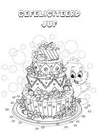 Kleurennu Verjaardagstaart Juf Kleurplaten