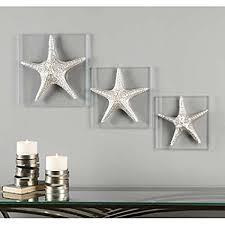 silver starfish wall art beach decor glass plaques set 3 on starfish wall art amazon with amazon silver starfish wall art beach decor glass plaques set 3