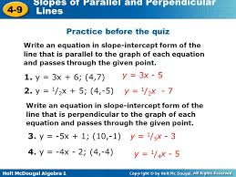 writing equations of parallel and perpendicular lines quiz