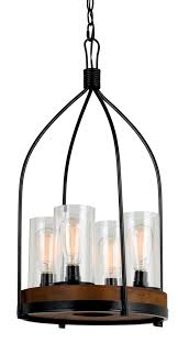 bronze iron wood chandelier 4 light