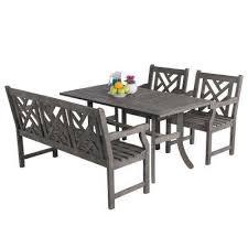 renaissance acacia 4 piece patio dining set with rectangular extension table