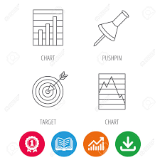 Pushpin Graph Charts And Target Icons Supply And Demand Linear