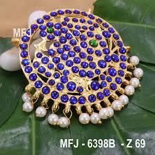 Blue Green Online Dark Blue Green Colour Stones With Pearl Drops Peacock Design Rakodi For Bharatanatyam Dance And Temple Buy Online