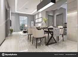 Rendering Modernes Esszimmer Und Wohnzimmer Mit Luxuriösem