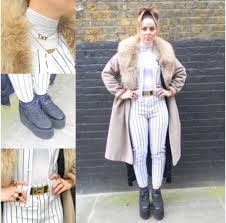 pants stripes black and white pin stripes baseball yankees sporty longline coat fur collar camel vintage