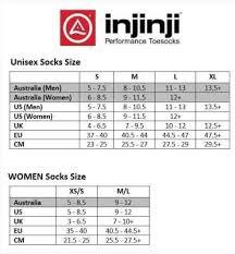Injinji Liner Socks Size Chart Injinji Socks Trail Midweight Crew Xtralife