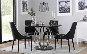 savoy round black marble and chrome dining table with 4 modena chairs only 549 99
